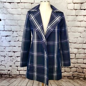 Zara Basic Blue Plaid Checkered Spring Jacket
